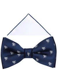 Modini - Granatowa mucha w ptaszki A306. Kolor: niebieski. Materiał: bawełna, tkanina, poliester. Styl: elegancki