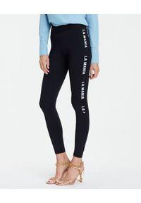 LA MANIA - Czarne legginsy z logo Beatty. Kolor: czarny. Materiał: materiał. Wzór: aplikacja, nadruk. Styl: sportowy, klasyczny, elegancki