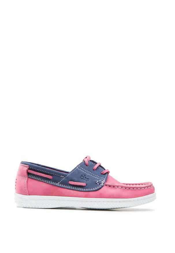 Buty TBS YOLLESF. Kolor: różowy. Materiał: nubuk, guma. Szerokość cholewki: normalna. Wzór: aplikacja