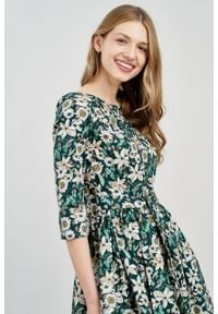 Marie Zélie - Sukienka Melia Daglezja zielona. Typ kołnierza: kokarda. Kolor: zielony. Materiał: materiał, skóra, bawełna, elastan. Styl: klasyczny