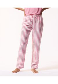 Lesly Spodnie Piżamowe W Paski - Xl - Różowy - Etam