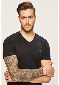 Marc O'Polo - T-shirt. Typ kołnierza: polo. Kolor: niebieski. Materiał: dzianina