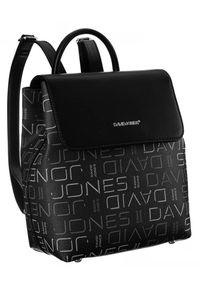 DAVID JONES - Plecak damski czarny David Jones 6534-1 BLACK. Kolor: czarny. Materiał: skóra ekologiczna. Wzór: aplikacja, nadruk