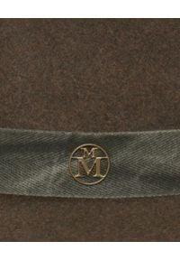 MAISON MICHEL PARIS - Zielony kapelusz Derek. Kolor: zielony. Materiał: wełna. Wzór: aplikacja. Sezon: jesień. Styl: elegancki