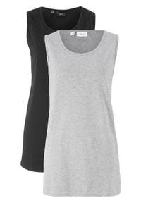 Długi top basic z bawełny (2 szt.) bonprix czarno-jasnoszary melanż. Kolor: czarny. Materiał: bawełna. Długość: długie. Wzór: melanż