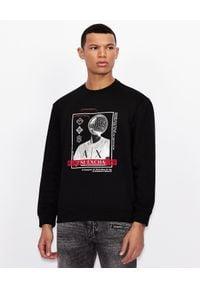 Armani Exchange - ARMANI EXCHANGE - Czarna bluza z haftowanym logo. Okazja: na co dzień. Kolor: czarny. Materiał: prążkowany, bawełna, jeans. Długość rękawa: długi rękaw. Długość: długie. Wzór: haft. Styl: klasyczny, casual