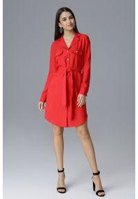 e-margeritka - Koszulowa sukienka midi zapinana na guziki czerwona - xl. Okazja: do pracy, na spotkanie biznesowe. Kolor: czerwony. Materiał: materiał, poliester. Długość rękawa: długi rękaw. Wzór: aplikacja. Typ sukienki: koszulowe. Styl: biznesowy, elegancki. Długość: midi