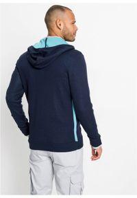 Niebieski sweter bonprix gładki, z kapturem
