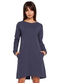 BE - Klasyczna sukienka z lekko poszerzanym dołem. Materiał: bawełna, materiał, elastan. Długość rękawa: długi rękaw. Typ sukienki: w kształcie A. Styl: klasyczny