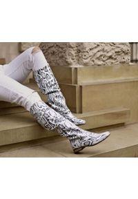 Biały kozaki Zapato na jesień, w kolorowe wzory, wąskie