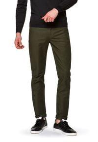 Lancerto - Spodnie Zielone Fabian. Okazja: na co dzień. Kolor: zielony. Materiał: elastan, tkanina, materiał, bawełna. Wzór: ze splotem. Styl: elegancki, casual