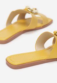 Renee - Żółte Klapki Beanol. Kolor: żółty
