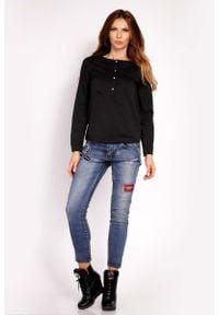 Lou-Lou - Czarna Bluzka Koszulowa z Krótkim Zapięciem. Kolor: czarny. Materiał: elastan, nylon, bawełna. Długość: krótkie
