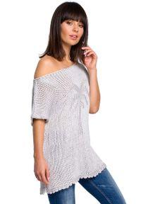 Szary sweter oversize MOE krótki, z aplikacjami, z krótkim rękawem