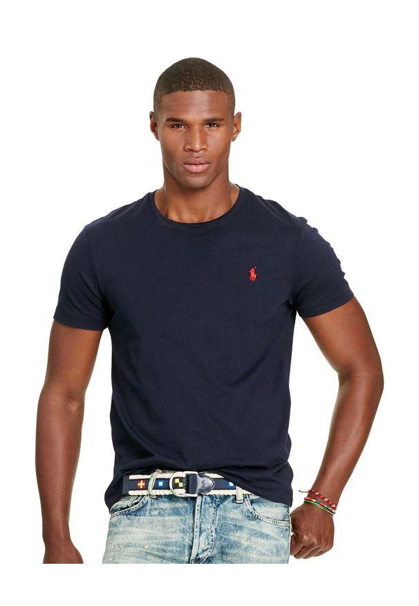 Ralph Lauren - RALPH LAUREN - Granatowy t-shirt. Kolor: niebieski. Materiał: bawełna. Wzór: haft. Styl: klasyczny