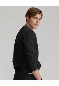 Ralph Lauren - RALPH LAUREN - Czarna bluza z bawełny. Typ kołnierza: polo, bez kaptura. Kolor: czarny. Materiał: bawełna. Długość rękawa: długi rękaw. Długość: długie. Wzór: aplikacja