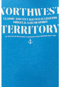 Niebieski t-shirt Tom Tailor casualowy, z nadrukiem, na co dzień