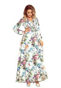 Numoco - Sukienka Maxi w Kwiaty z Falbanką. Materiał: poliester, elastan. Wzór: kwiaty. Długość: maxi