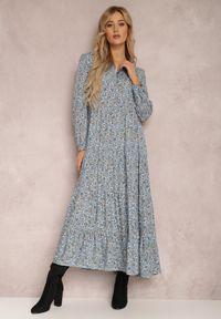 Renee - Niebieska Sukienka Feanyore. Kolor: niebieski. Wzór: kwiaty, kolorowy. Długość: maxi