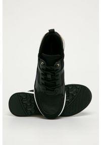 Czarne buty sportowe Aldo na średnim obcasie, z cholewką, na koturnie