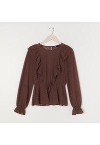 Sinsay - Bluzka z falbanami - Brązowy. Kolor: brązowy