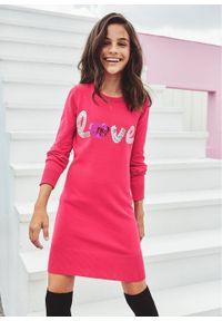 Sukienka dziewczęca dzianinowa z cekinami bonprix różowy hibiskus. Kolor: różowy. Materiał: dzianina. Wzór: aplikacja