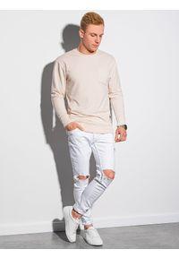 Ombre Clothing - Bluza męska bez kaptura B1149 - ecru - XXL. Typ kołnierza: bez kaptura. Materiał: bawełna, jeans, materiał, poliester. Wzór: melanż