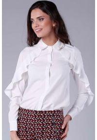 Nommo - Koszulowa Biała Bluzka z Falbanką. Kolor: biały. Materiał: poliester, wiskoza