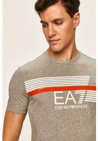 Szary t-shirt EA7 Emporio Armani casualowy, z nadrukiem, na co dzień