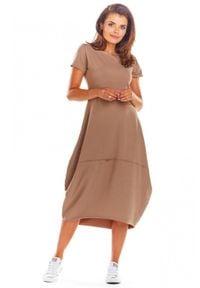 Infinite You - Bawełniana dłuższa sukienka z poszerzanym dołem. Materiał: bawełna