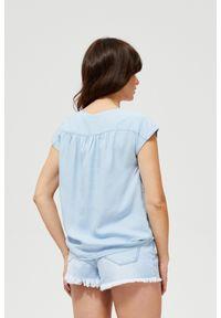 Niebieska koszula MOODO z krótkim rękawem, bez kołnierzyka, krótka