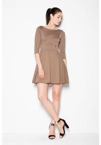 e-margeritka - Sukienka rozkloszowana odcinana w pasie, Mocca - l. Materiał: poliester, elastan, wiskoza, materiał