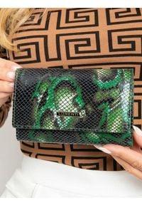 LORENTI - Portfel damski skórzany RFID Lorenti 55020-MSN zielony. Kolor: zielony. Materiał: skóra