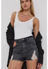 Miss Sixty - Szorty jeansowe. Stan: podwyższony. Kolor: czarny. Materiał: jeans