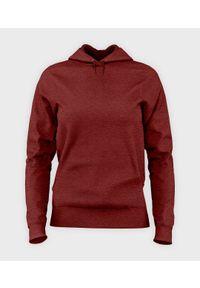 MegaKoszulki - Damska bluza z kapturem taliowana (bez nadruku, gładka) - czerwona. Typ kołnierza: kaptur. Kolor: czerwony. Wzór: gładki