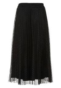 Spódnica plisowana w kropki bonprix czarny. Kolor: czarny. Materiał: tiul. Wzór: kropki