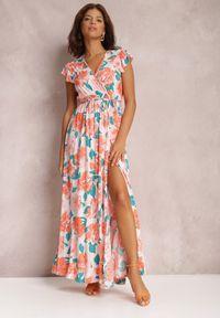 Renee - Różowa Sukienka Mazhand. Kolor: różowy. Materiał: tkanina, materiał. Wzór: kwiaty, nadruk. Typ sukienki: kopertowe. Długość: maxi