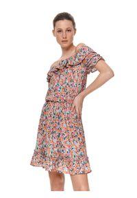 Pomarańczowa sukienka TOP SECRET mini, koszulowa