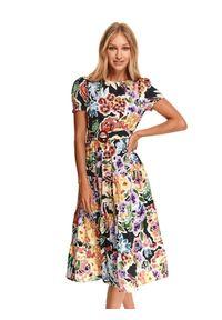 TOP SECRET - Sukienka midi z paskiem w kolorowy nadruk. Materiał: dzianina. Wzór: nadruk, kolorowy. Sezon: jesień. Długość: midi