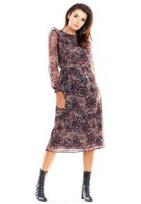 e-margeritka - Sukienka szyfonowa z falbanami - xl. Typ kołnierza: kołnierz z falbankami. Materiał: szyfon. Typ sukienki: dopasowane. Styl: elegancki. Długość: midi