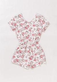 Born2be - Biało-Różowy Kombinezon Allugana. Kolor: biały. Materiał: tkanina. Długość rękawa: krótki rękaw. Wzór: kwiaty, aplikacja