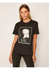 Czarny t-shirt Karl Lagerfeld z nadrukiem, z dekoltem karo