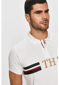 Biała koszulka polo TOMMY HILFIGER polo, z aplikacjami, krótka