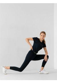 4f - Legginsy treningowe szybkoschnące damskie. Kolor: niebieski. Materiał: dzianina, satyna. Długość: do kostek. Wzór: gładki