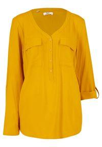 Bluzka z wiskozy z dekoltem w serek, długi rękaw bonprix żółty curry. Typ kołnierza: dekolt w serek. Kolor: żółty. Materiał: wiskoza. Długość rękawa: długi rękaw. Długość: długie