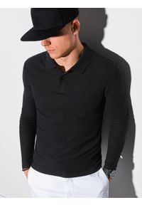 Ombre Clothing - Longsleeve męski bez nadruku L132 - czarny - XXL. Typ kołnierza: polo. Kolor: czarny. Materiał: bawełna, jeans, materiał. Długość rękawa: długi rękaw. Wzór: ze splotem