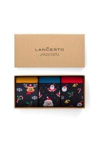 Lancerto - Zestaw 3 Par Skarpet Świątecznych. Materiał: bawełna, dzianina, poliamid, elastan. Wzór: kolorowy
