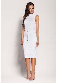 Dursi - Biała Elegancka Ołówkowa Sukienka z Połyskiem. Kolor: biały. Materiał: wiskoza, poliamid, elastan. Typ sukienki: ołówkowe. Styl: elegancki