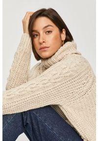 Kremowy sweter Answear Lab długi, z golfem, wakacyjny