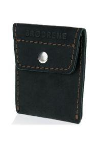 Skórzana bilonówka coin wallet BRODRENE CW02 czarna. Kolor: czarny. Materiał: skóra